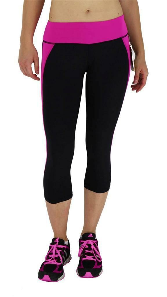 NEW W SPORT WOMEN'S ATHLETIC GYM WORK OUT CAPRI LEGGINGS PANTS BLACK PINK AP4831