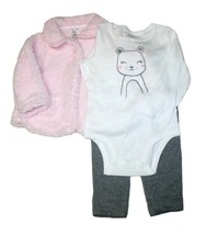Carter's Girl's 3 Piece Set, Pink Furry Jacket, 18 Month - $24.99