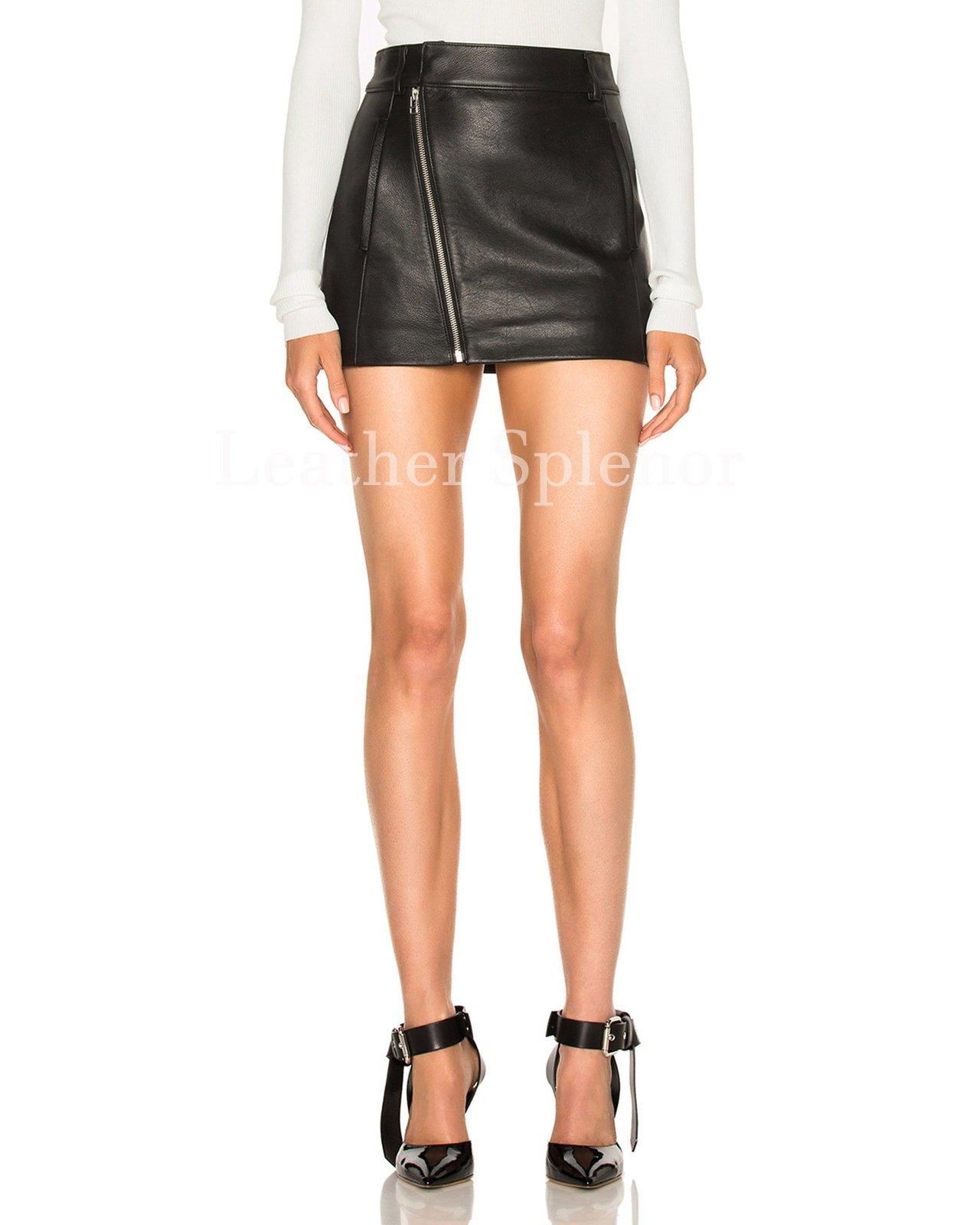 Assymetrical Zipper Women Mini Leather Skirt