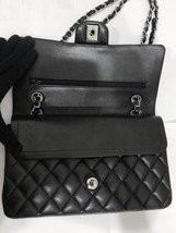 SALE Authentic Chanel BLACK QUILTED LAMBSKIN MEDIUM CLASSIC DOUBLE FLAP BAG SHW image 11