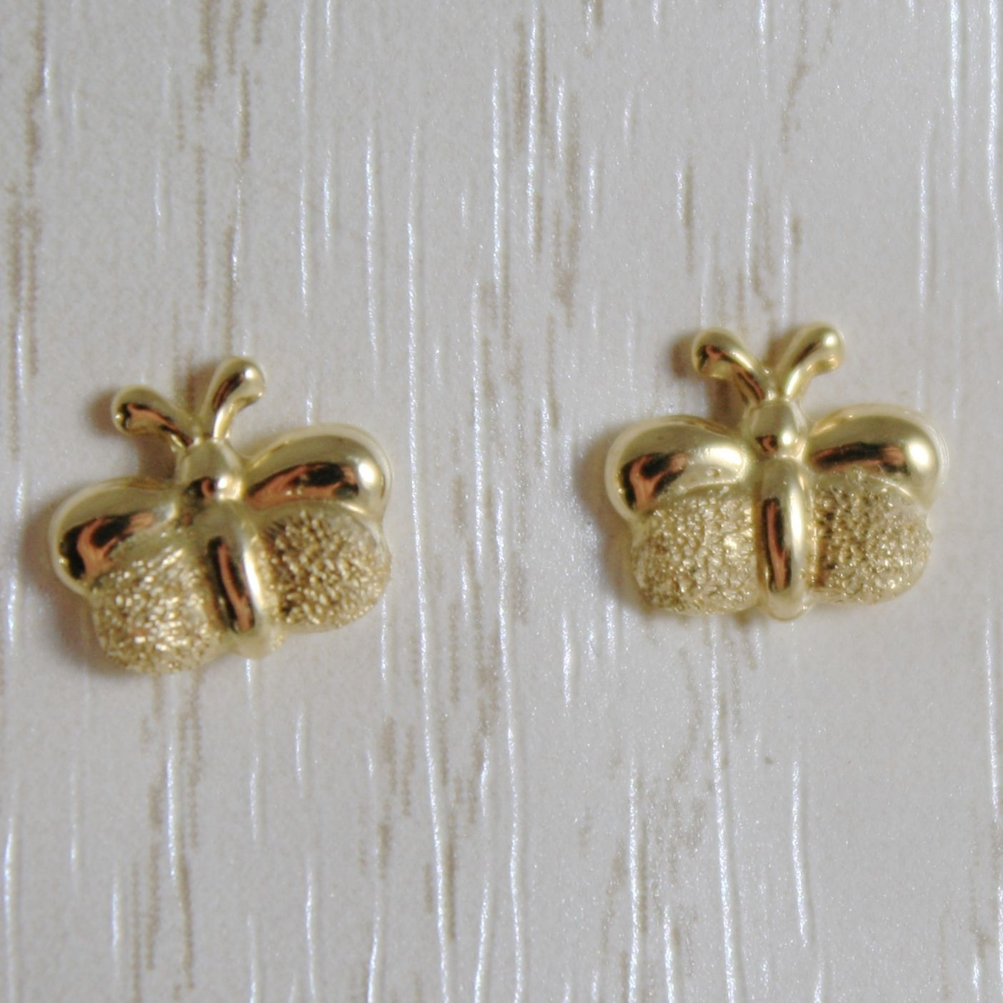 18K YELLOW GOLD EARRINGS MINI BUTTERFLY, SATIN FOR KIDS CHILD MADE IN ITALY