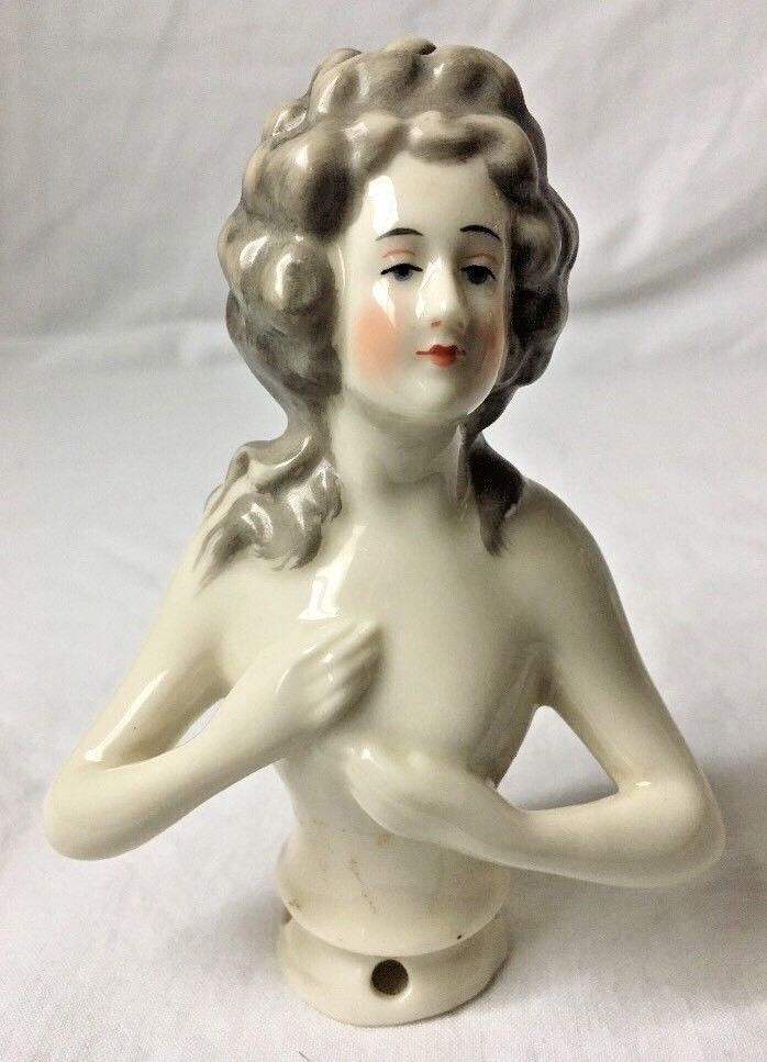 """Vintage Half Doll for Pin Cushion Porcelain Woman Nude German Large 4 3/4"""""""