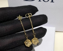 AUTH Christian Dior 2019 LUCKY SQUARE STAR EARRINGS DANGLE DROP CRYSTAL GOLD image 5
