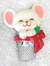 Festive Hallmark Super Cute Christmas Mouse in Thimble Brooch 1980s vintage - $12.30