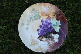 "R.C.Tilly Bavaria Hand Painted Cabinet Plate Purple Grapes Vintage Antique 8"" W - $34.99"