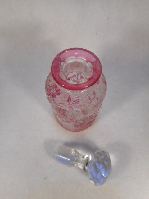 Antique Frosted and Cranberry Etched Vanity Bottle with Crystal Stopper