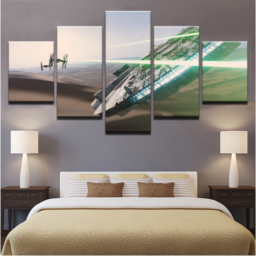 5 Pieces Star Wars Millennium Falcon Canvas Prints Painting Wall Art Home Décor, used for sale  USA