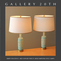 NICE! PAIR MID CENTURY MODERN ATOMIC SPACE AGE TABLE LAMPS! BLUE Vtg 50s... - £1,308.81 GBP