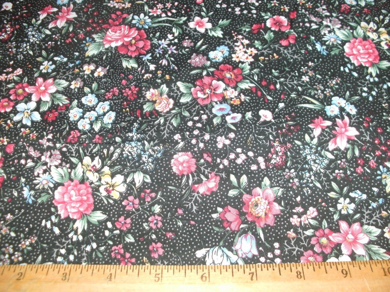 Concord Quilter's Print Quilt Fabric Blooming Flowers Burgundy Blue Black BTY