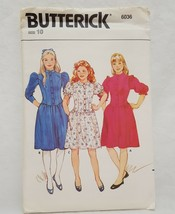 Girls Dress Semi Fitted Slightly Flared Size 10 Butterick 6036 Low Waisted  - $14.99