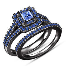 Princess Cut Blue Sapphire Womens Bridal Ring Set 14k Black Gold Over 92... - $106.99