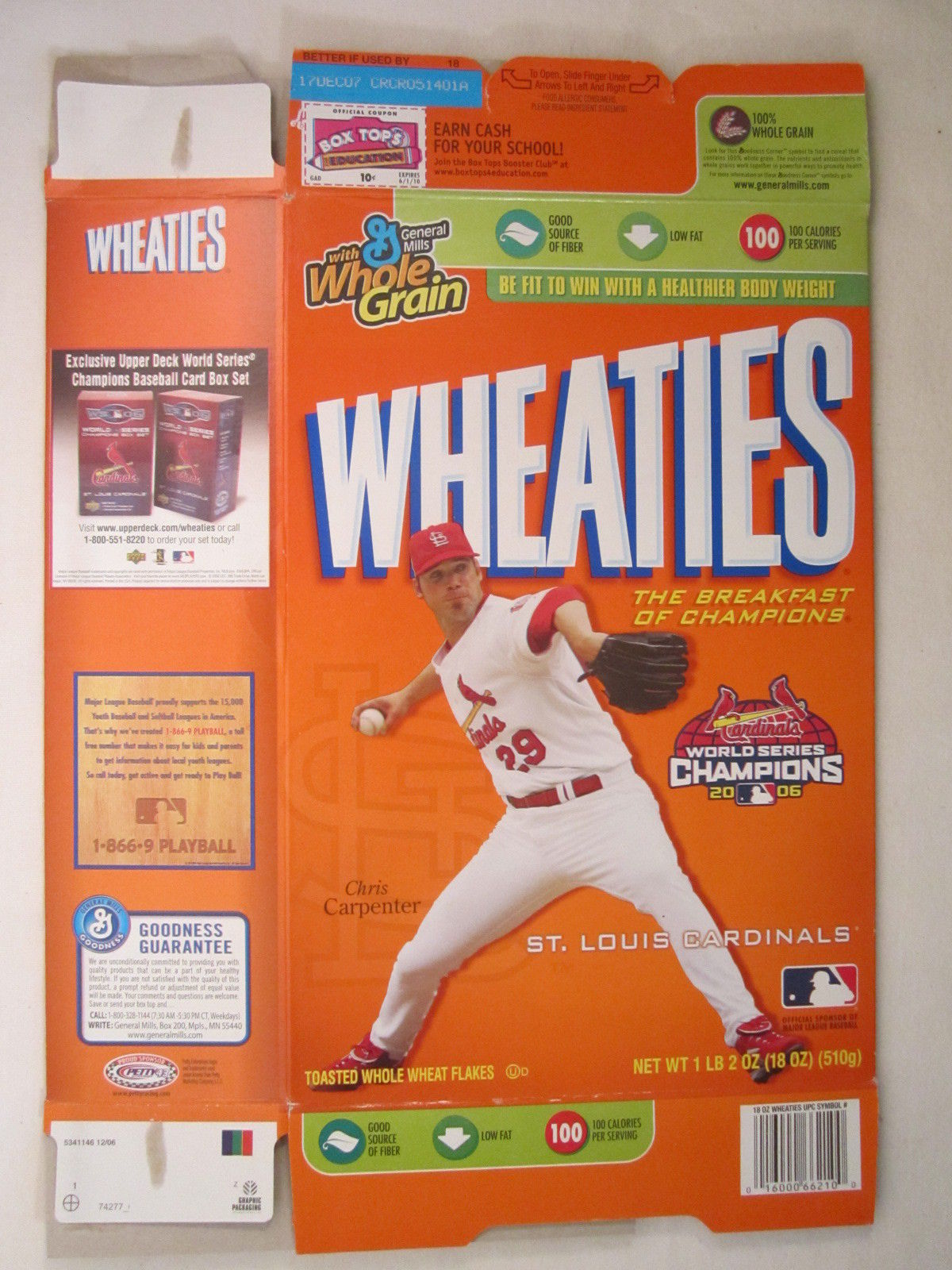Primary image for Empty WHEATIES Box 2006 18oz CHRIS CARPENTER St Louis Cardinals [Z202e1]