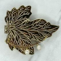 Vintage Gold Tone Faux Pearl Leaf Belt Buckle - $12.59