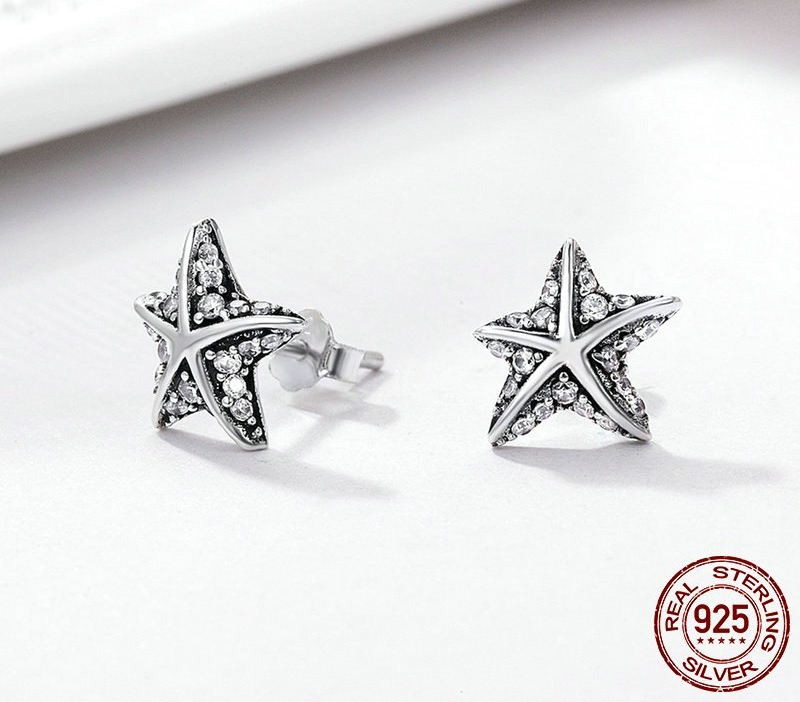 Hot Sale 100% 925 Sterling Silver Star Tropical Starfish Stud