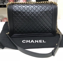 AUTH CHANEL BLACK QUILTED LAMBSKIN LARGE BOY FLAP BAG GHW image 2