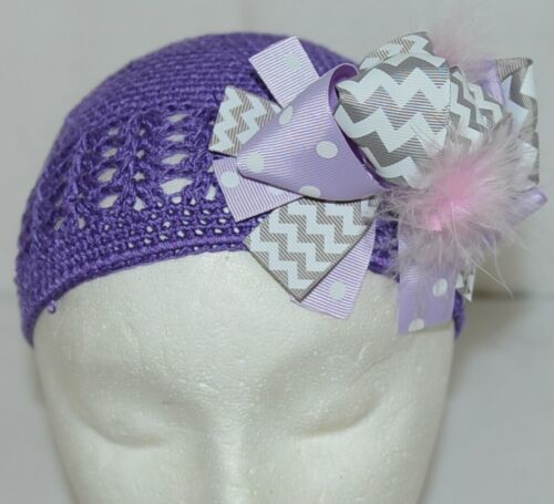 Unbranded Infant Toddler Purple Hat Stretch Removable Bow Multicolor