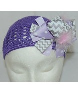 Unbranded Infant Toddler Purple Hat Stretch Removable Bow Multicolor - $15.99