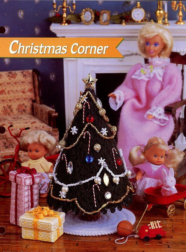 Christmas Corner fits Barbie Doll Tree Gifts Plastic Canvas Pattern NEW