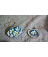 Seashell and Blue Flower Ornaments Set of Two - $6.50