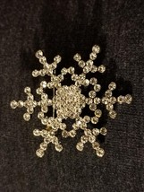 Silver Clear Swarovski Crystal Snowflake Brooch Pin -winter wedding - $14.99