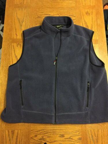 EDDIE BAUER Mens Gray Full Zip Fleece Two Pocket Vest Size 2XL HOODLESS