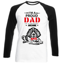 Spring Spaniel - Im A Proud Dad - Black Sleeved Baseball Cotton Tshirt - $25.81