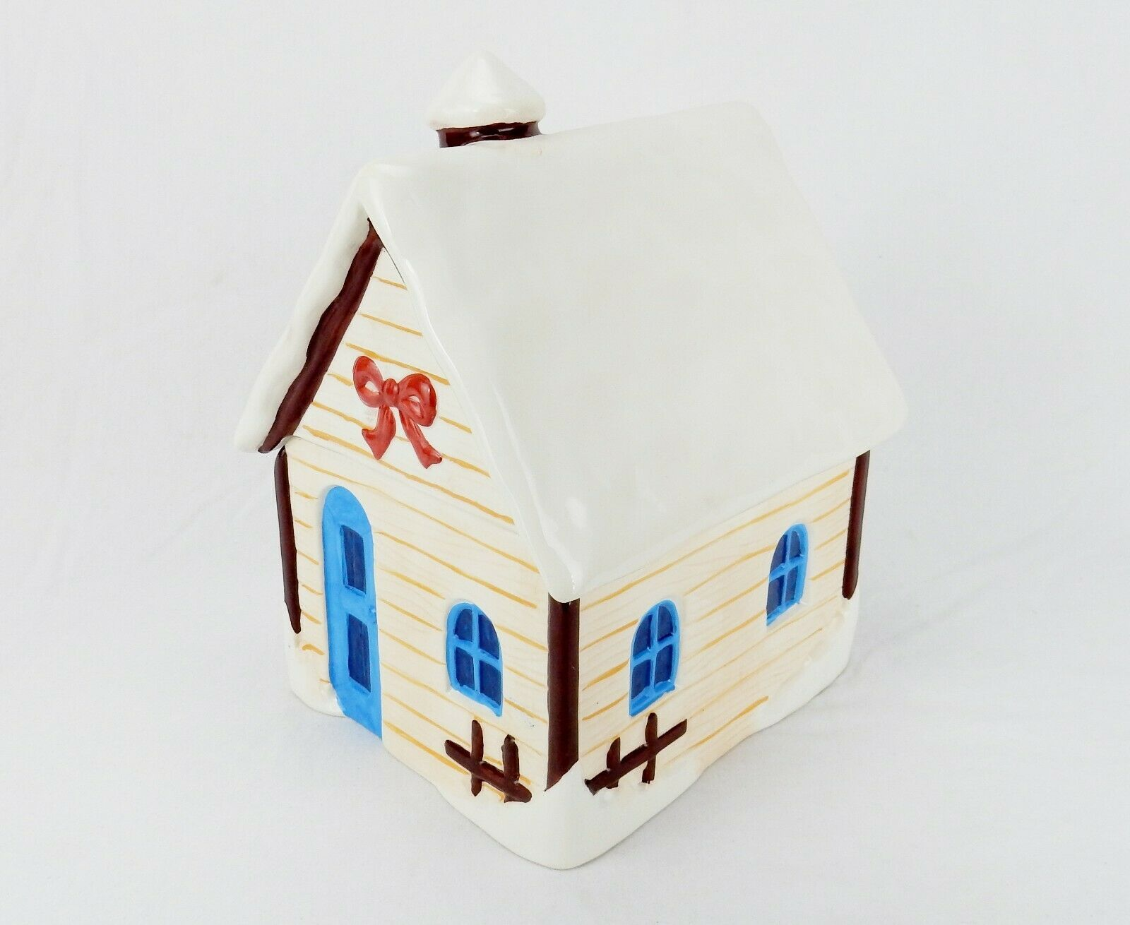 Primary image for Porcelain Cookie Jar, Mountain Lodge, Snow Covered Cabin, Today's Living