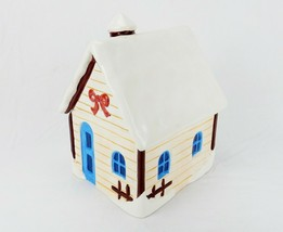Porcelain Cookie Jar, Mountain Lodge, Snow Covered Cabin, Today's Living - $34.25
