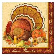 Give Thanks 16 Ct Luncheon Napkins Turkey Thanksgiving - £2.80 GBP
