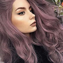 ENTRANCED STYLES Purple Lace Front Wig for Women Synthetic Long Wavy Wig... - $38.48