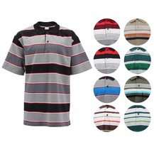 Men's Classic Striped Cotton Blend Lightweight Mesh Short Sleeve Polo Shirt