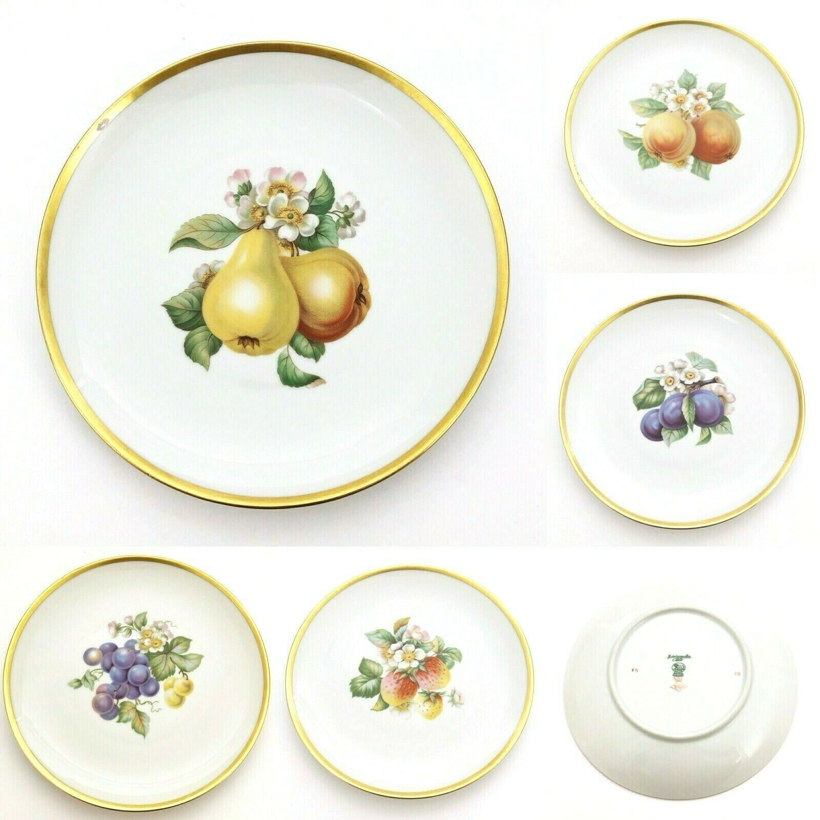 Vintage Hutschenreuther Decorative Plates with Hand Painted Fruits PASCO  - $75.65