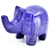 Vaneal Group Hand Crafted Carved Soapstone Blue Elephant Figurine Made in Kenya image 2