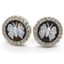 EARRINGS SILVER 925 CAMEO CAMEO, BUTTERFLY ENGRAVED IN HAND, ZIRCON, BUTTON image 1