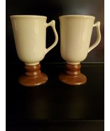 Vtg HALL Irish Coffee Cup 2 Mugs Footed White & Brown 1272 set of 2 made... - $29.58