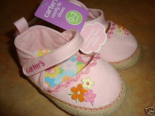 Carters girls comfy fit pink sandal shoes NEW 6-9 M 3