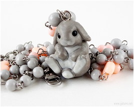 Gray Bunny Necklace, Handmade Jewelry, Kawaii Fashion, Sweet Lolita - $37.00