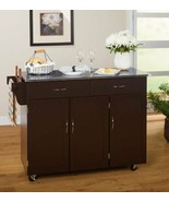 Espresso Large Kitchen Island Utility Cart Rolling Cabinet Storage Stain... - $335.51