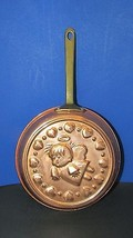 vintage copper wall hanging hearts angel cherub mold pan brass handle Korea - $9.89