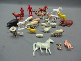1950's Plastic Tan Farm Animals & People Marx? Lionell? Nice Lot - $16.03