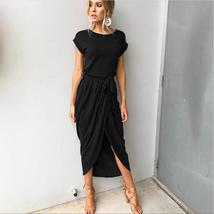 6 Colors Boho Split Long Dress Fashion Women O-Neck Maxi Dress Summer Short Slee - $29.99