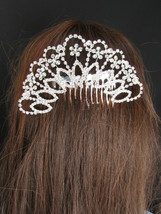 New Women Big Silver Head Metal Fans Flowers Fashion Dressy Hair Pin Rhi... - $22.65