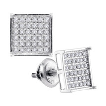 Sterling Silver Womens Round Diamond Square Cluster Earrings 1/4 Cttw - $63.00