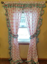 Baby Minnie Mouse Curtain Drapes 82 in x 50 in Disney Pink Green Hearts ... - $44.55