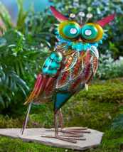 Outdoor Lawn Ornaments Statues Front Porch Decor Owl Rooster Yard Metall... - $22.99