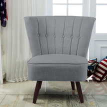 Cocktail Wingback Linen Chair With Buttons European Style Home Office Shop - $135.00