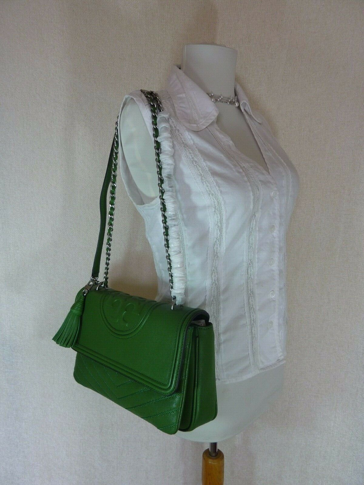 NWT Tory Burch Watercress Green Leather Fleming Convertible Shoulder Bag image 11