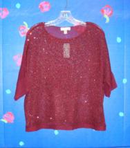Nwt - Dress Barn Burgundy Sequin Sweater Size L - $14.99
