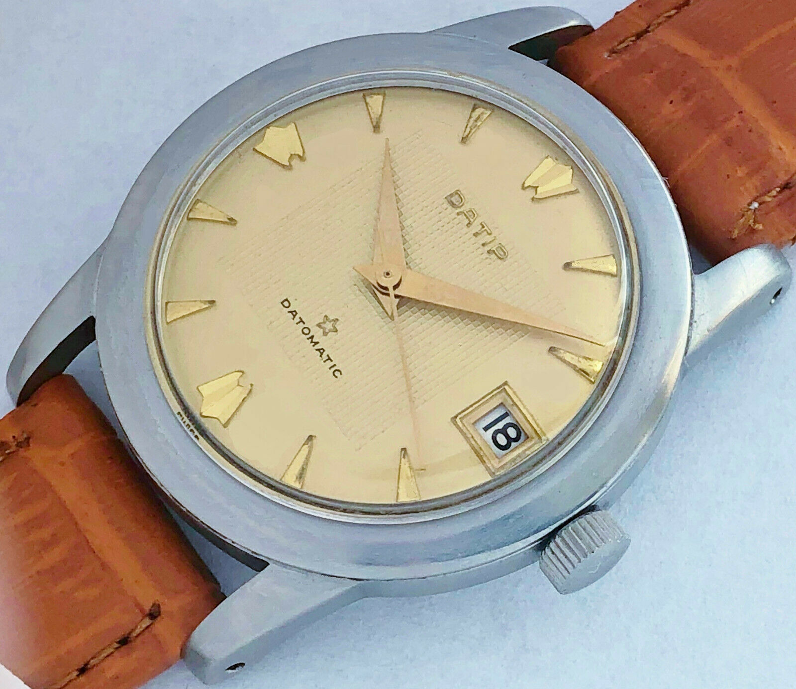 17 Jewels Swiss made Datip datomatic automatic Men's vintage wind up watch very