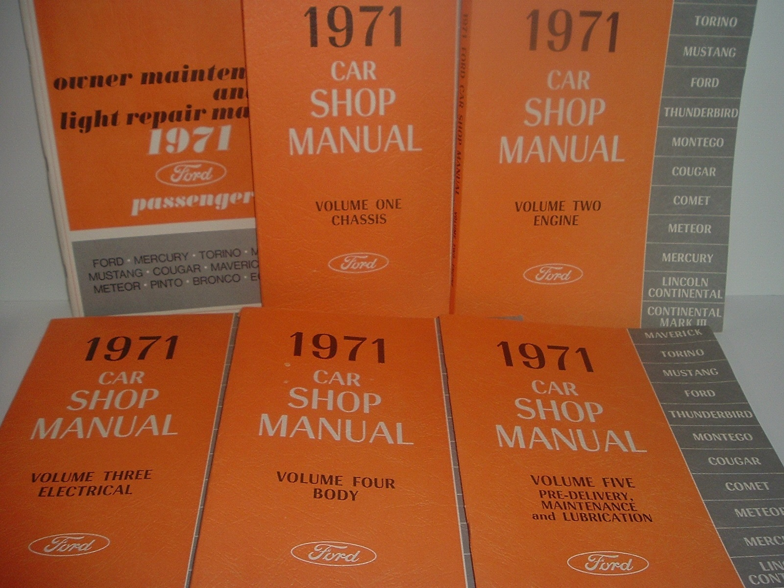 Primary image for 1971 Ford Car Shop Manuals Volumes 1 - 5 and Owner Maintenance Manual